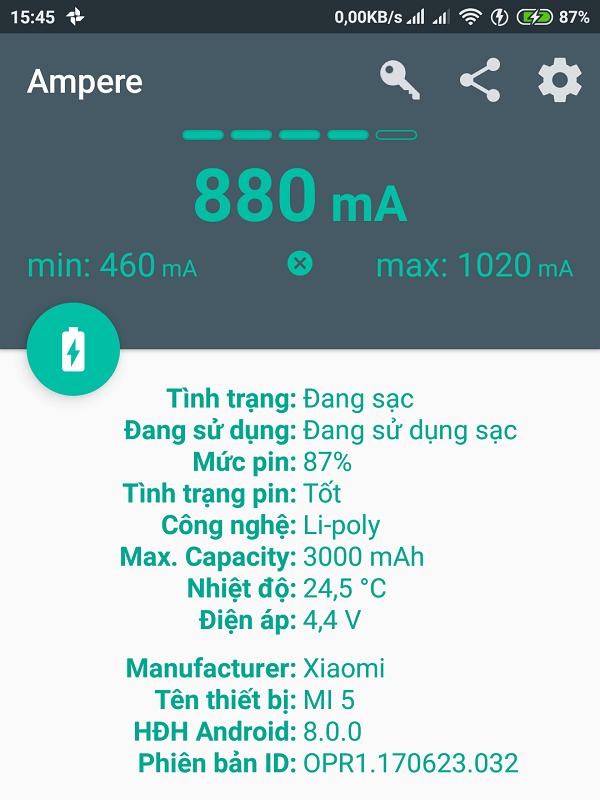 Ứng dụng Ampere đo cường độ dòng điện sạc điện thoại