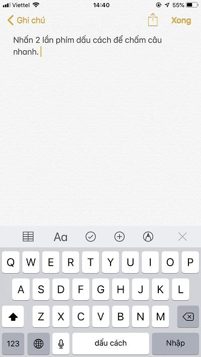 Mẹo bàn phím cho iPhone - Chấm câu nhanh bằng 2 lần phím cách
