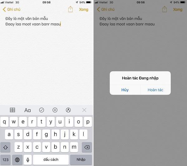 Mẹo bàn phím cho iPhone - Lắc để hoàn tác