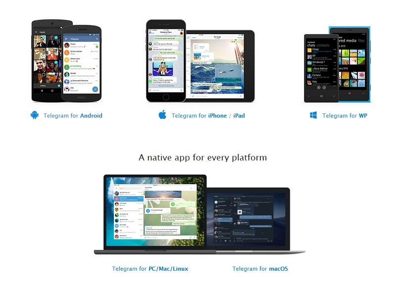 Các nền tảng Telegram hỗ trợ