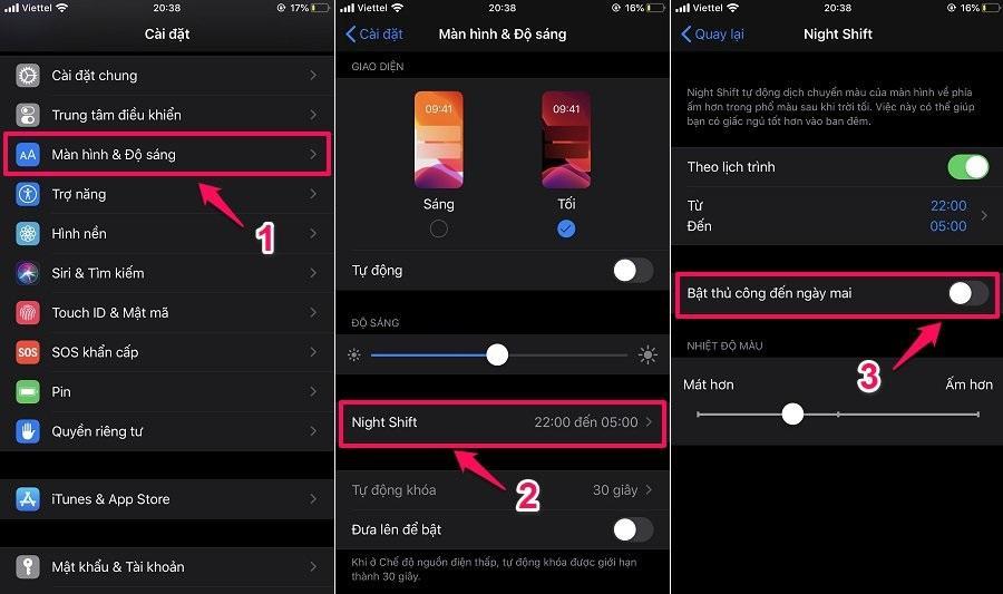 Cách làm giảm ánh sáng xanh điện thoại iPhone - Night Shift