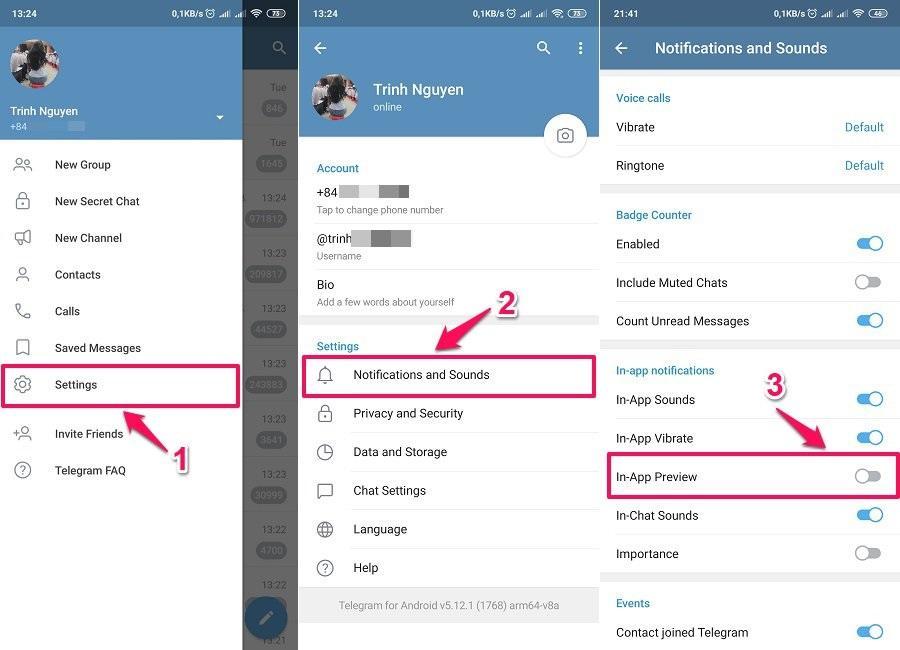 Cách sử dụng Telegram - Tắt xem trước tin nhắn