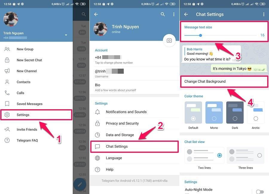 Cách sử dụng Telegram - Thay đổi cỡ chữ và hình nền