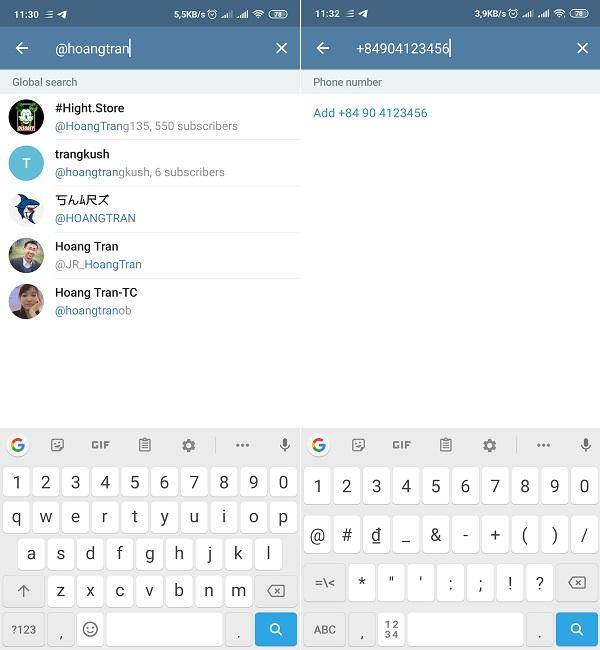 Cách sử dụng Telegram - Tìm một người bạn