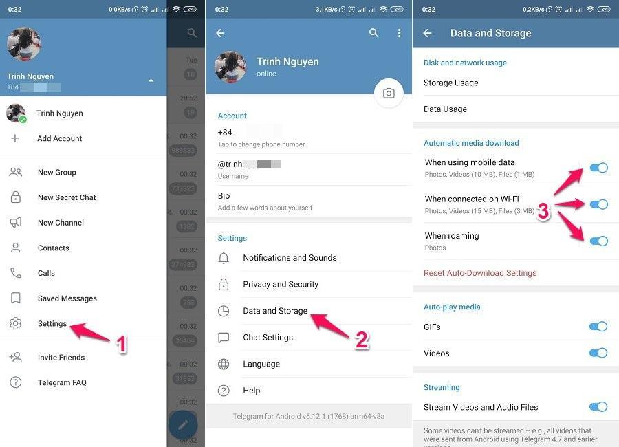 Tùy chỉnh Telegram không tự động tải xuống tệp đa phương tiện