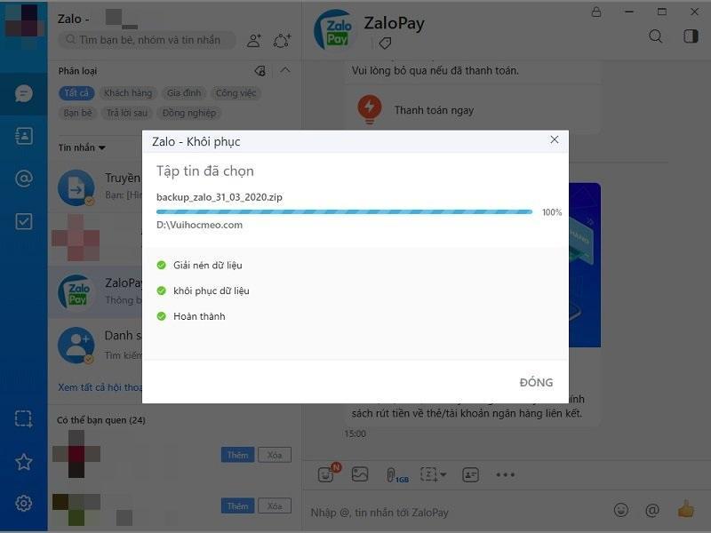 Cách phục hồi tin nhắn Zalo trên PC