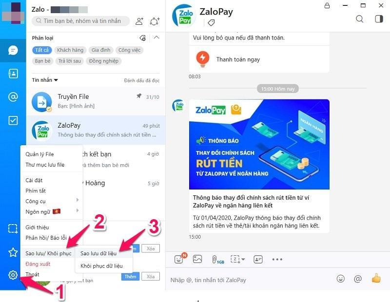 Cách sao lưu tin nhắn Zalo trên PC