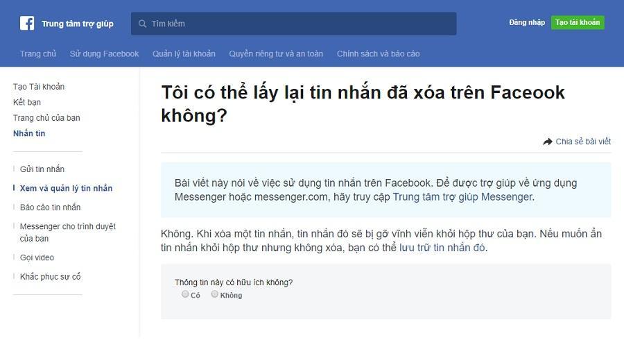Facebook nói gì về việc khôi phục tin nhắn Messenger đã xóa trên điện thoại?