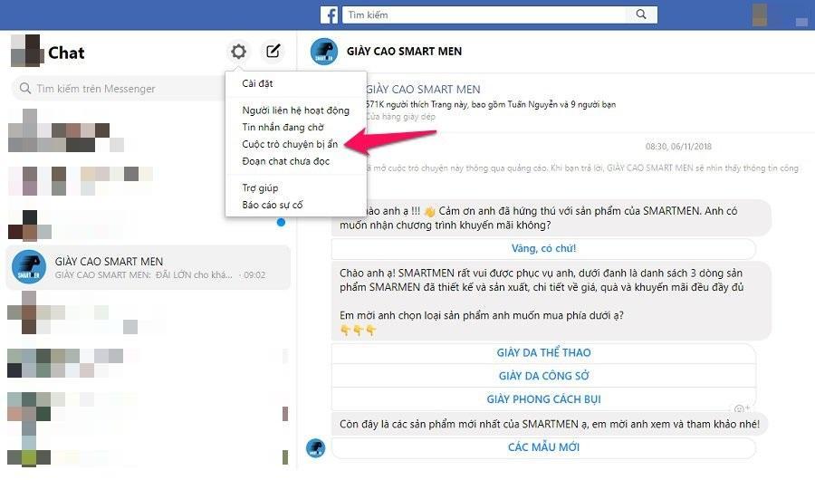 Kiểm tra các cuộc trò chuyện Messenger đã lưu trữ