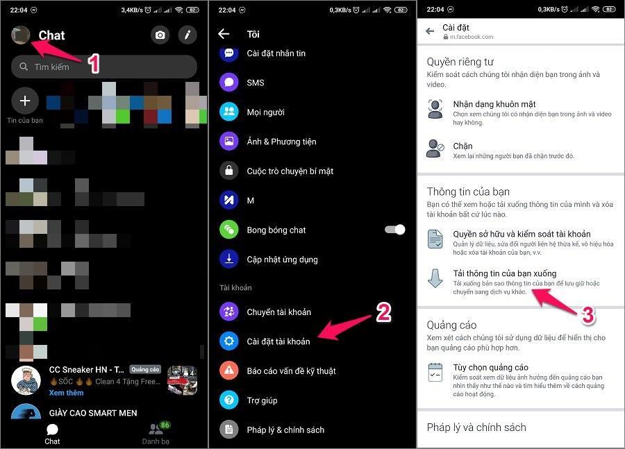 Sao lưu khôi phục tin nhắn Messenger đã xóa trên điện thoại