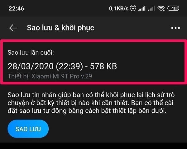 Thông tin bản sao lưu tin nhắn Zalo trên iPhone và Android