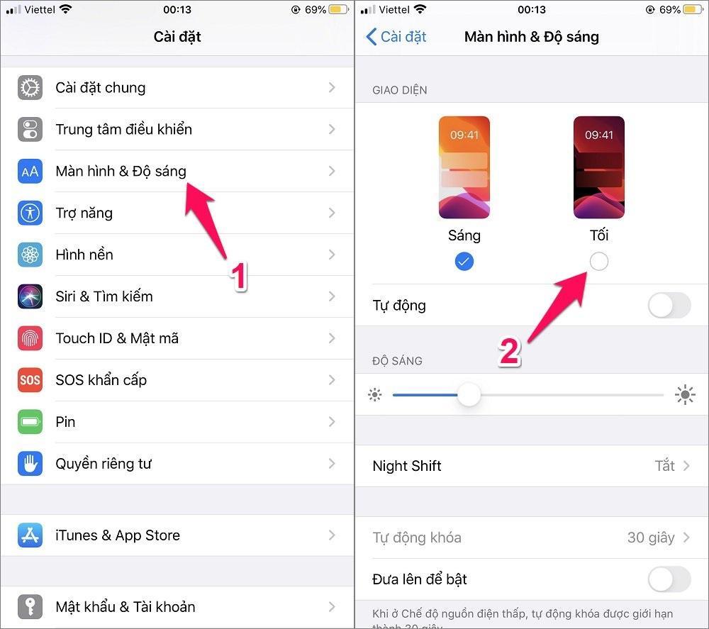 Cách bật chế độ Dark Mode trên iPhone trong cài đặt