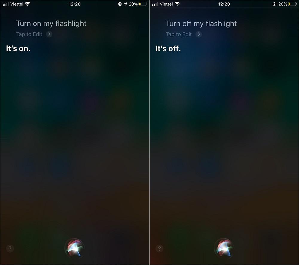 Cách bật tắt đèn pin iPhone bằng Siri