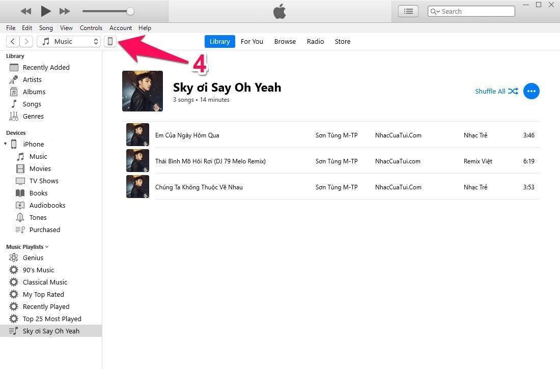 Cách copy nhạc vào iPhone bằng iTunes