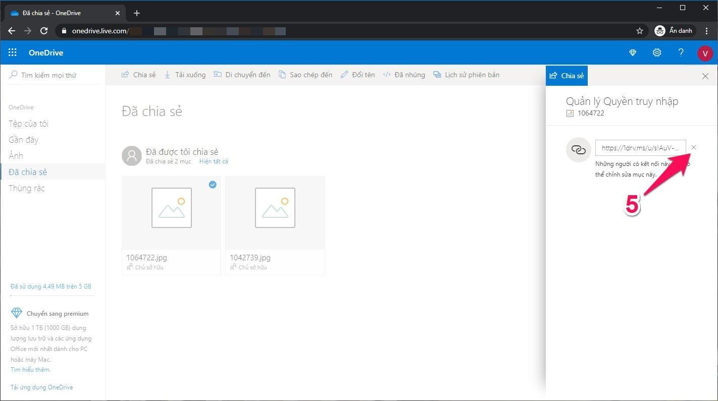 Cách hủy chia sẻ tệp tin trên OneDrive