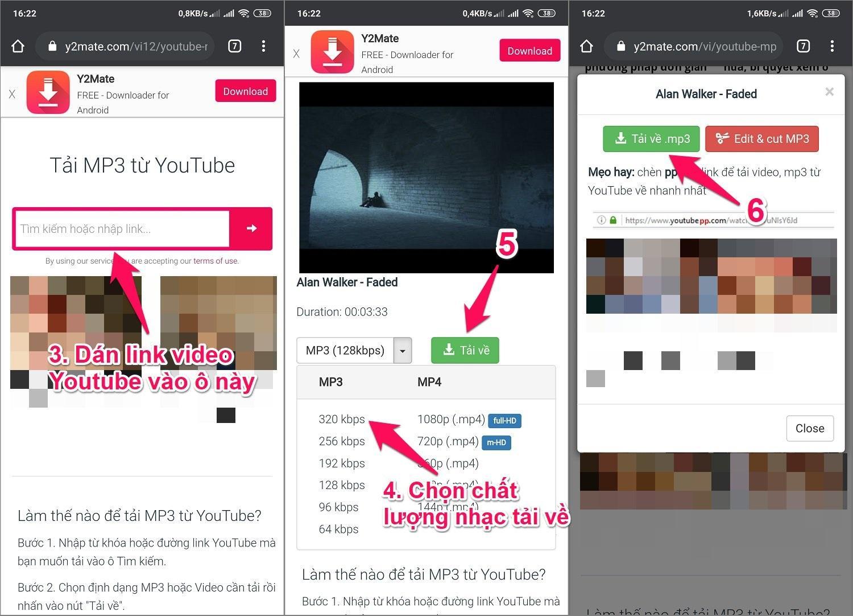 Cách tải nhạc Mp3 trên Youtube về điện thoại Android bằng Website