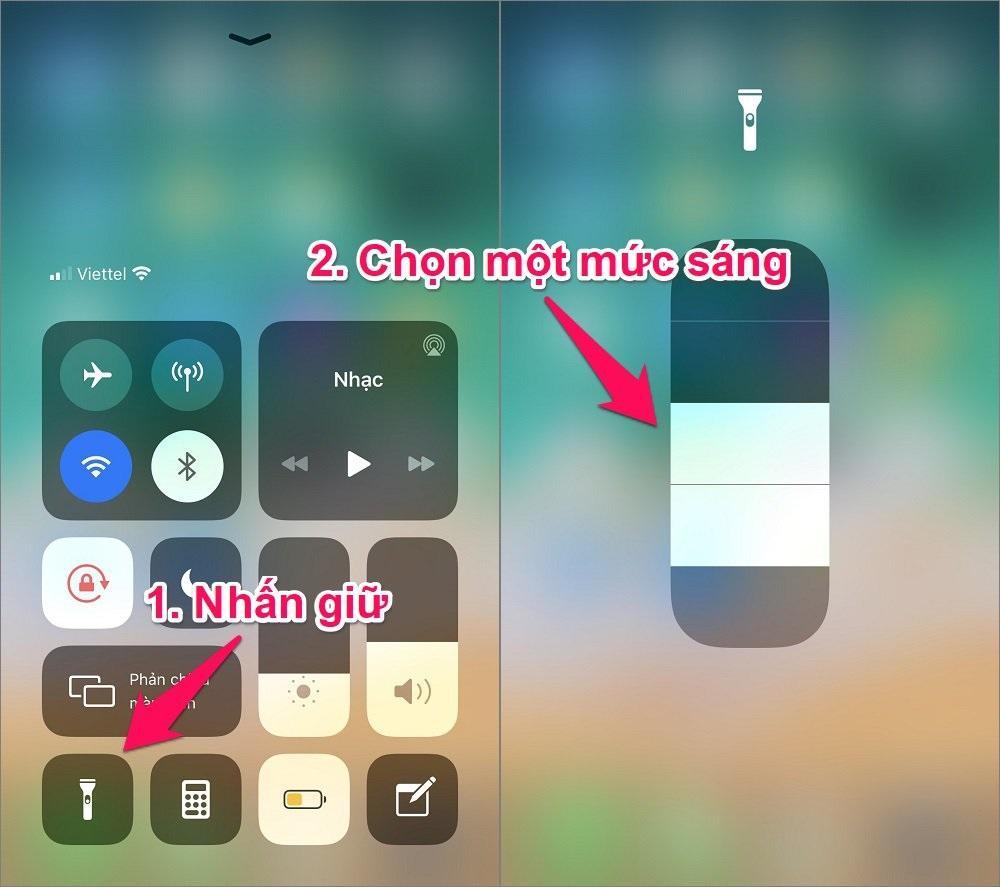 Cách tăng giảm độ sáng đèn pin iPhone
