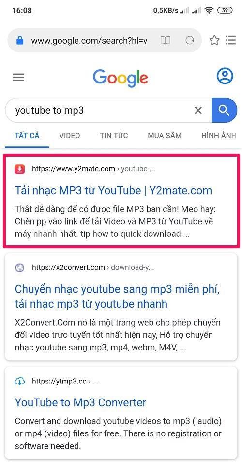 y2mate tải nhạc Mp3 trên Youtube về điện thoại Android