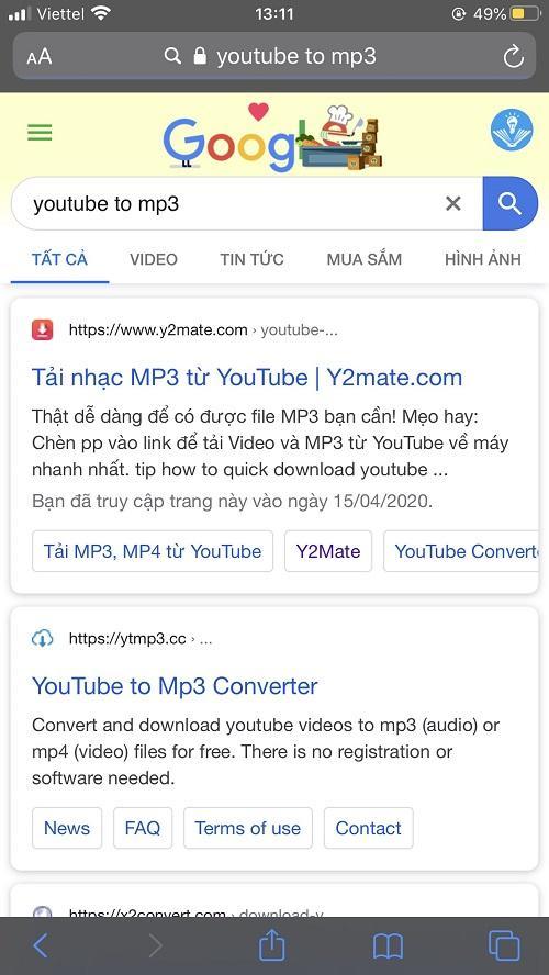 y2mate tải nhạc trên Youtube về điện thoại iPhone