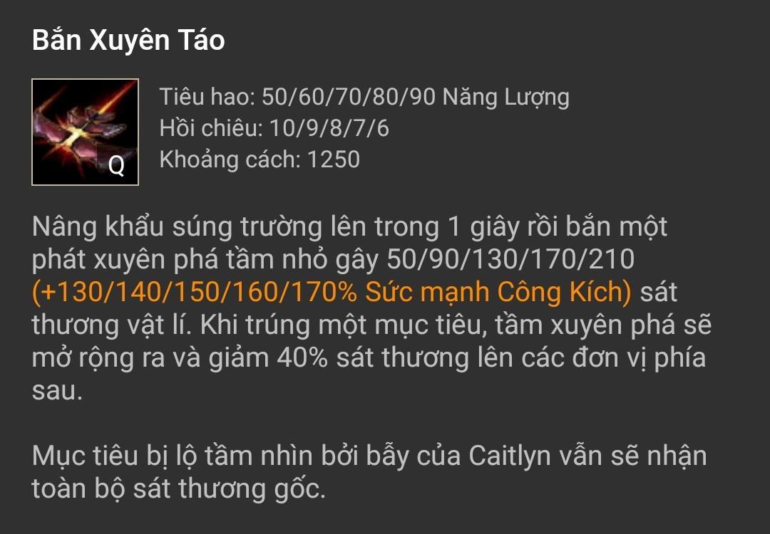 Kỹ năng Caitlyn Bắn Xuyên Táo (Q)