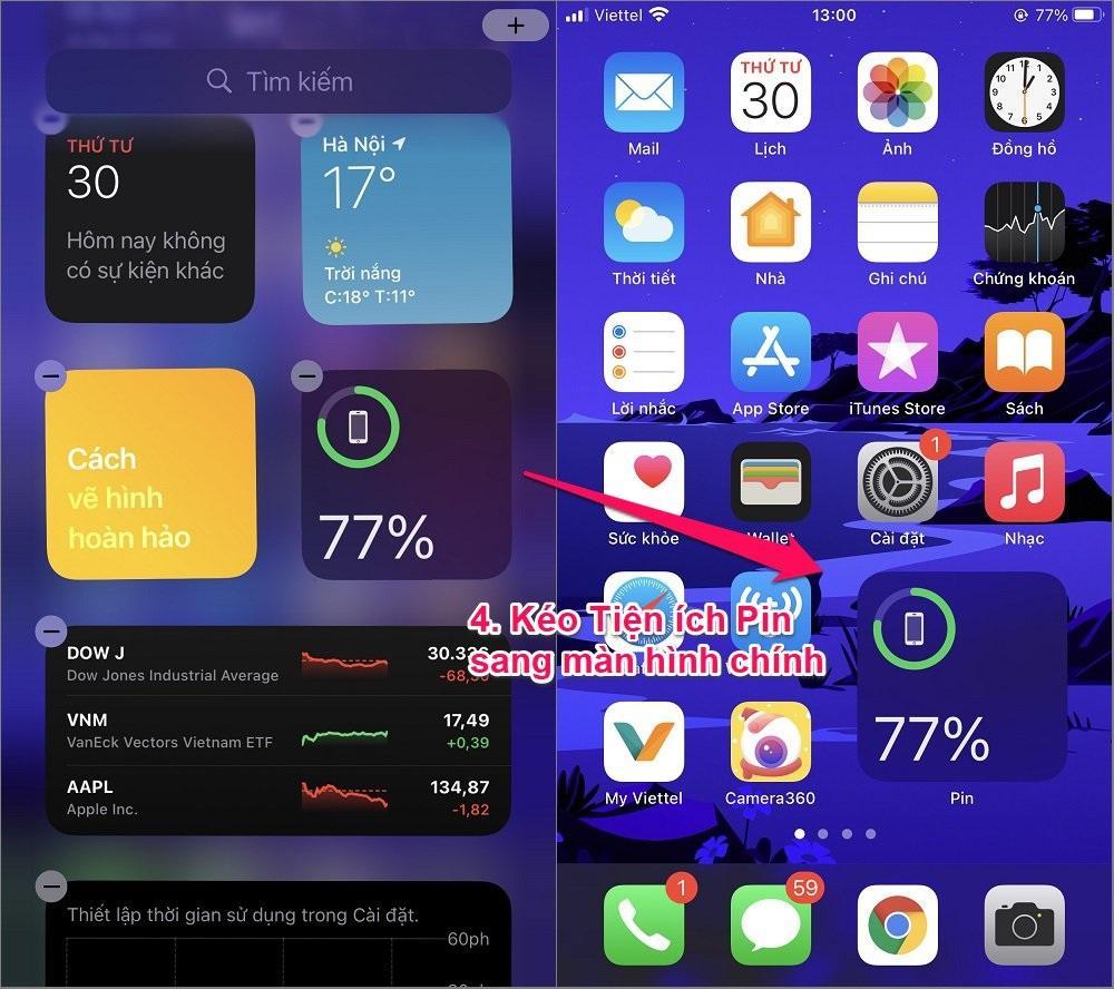 Cách hiện phần trăm Pin trên các đời iPhone X, 11, 12 bằng Tiện ích