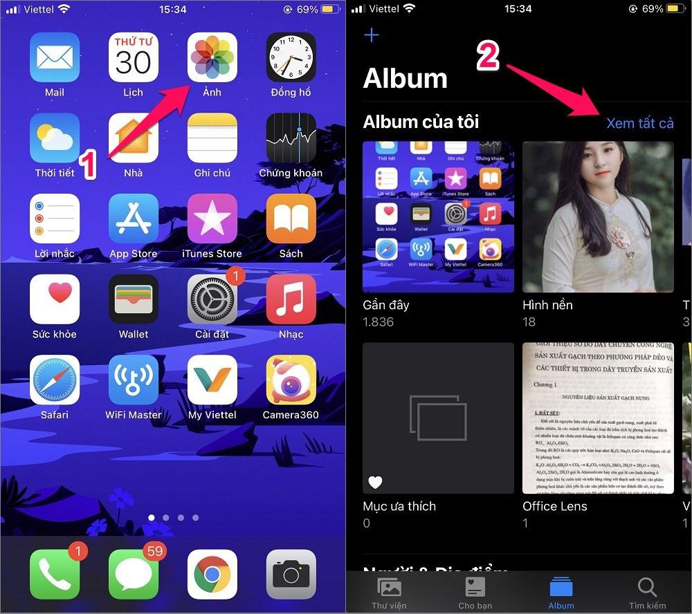 Cách xóa Album ảnh trên iPhone