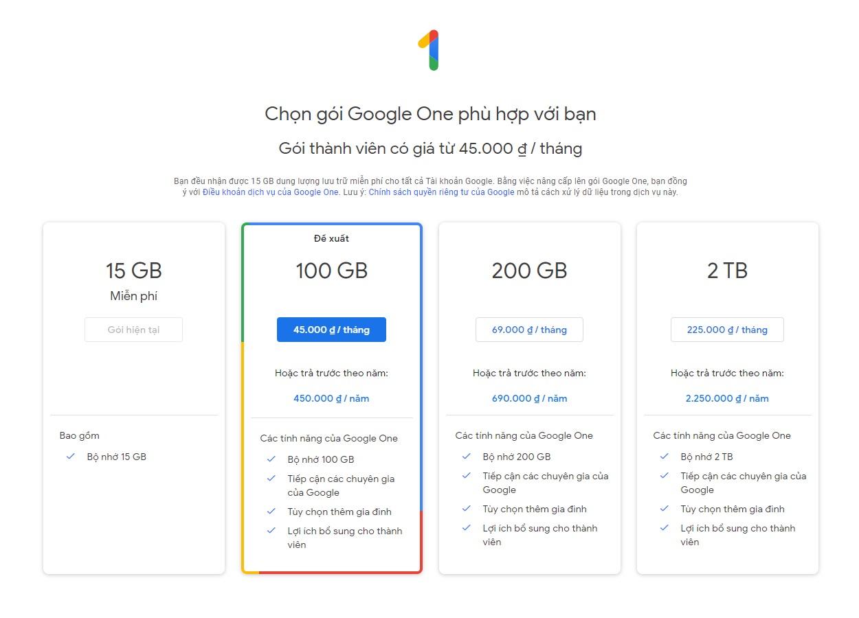 Bảng giá gói thành viên Google One