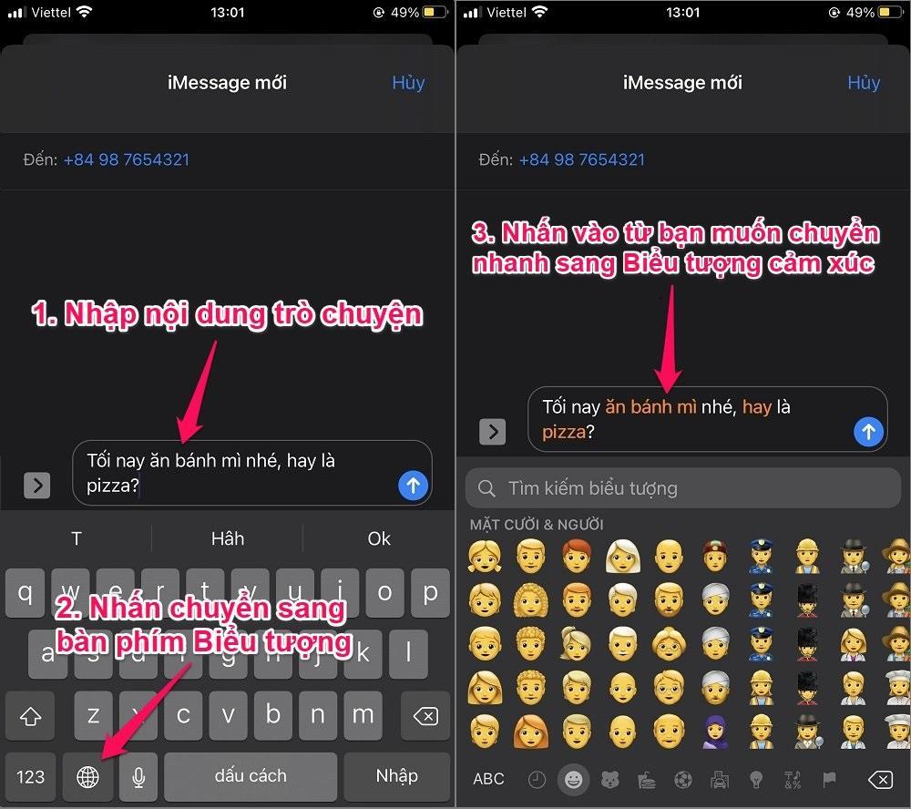 Hướng dẫn thay đổi các từ thành Biểu tượng cảm xúc trên iPhone