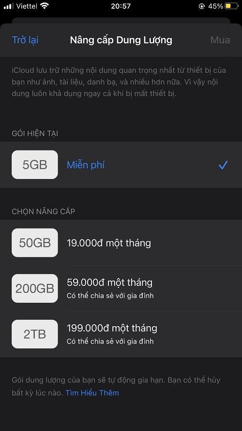 Bảng giá dung lượng iCloud
