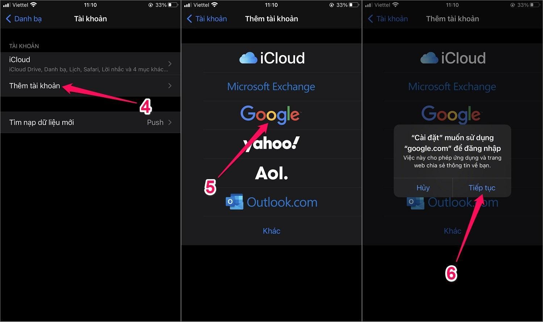 Cách chuyển danh bạ từ Android sang iPhone bằng tài khoản Google