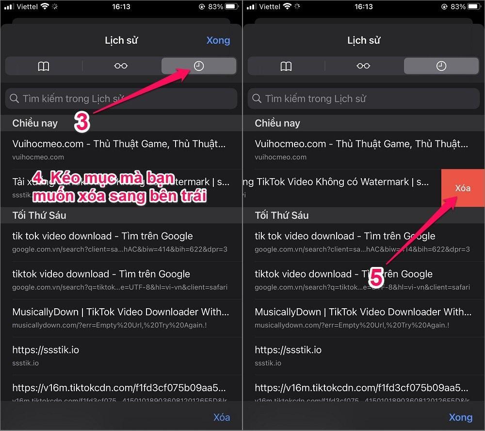 Hướng dẫn cách xoá từng mục lịch sử Web, lịch sử Tìm kiếm trên Safari iPhone