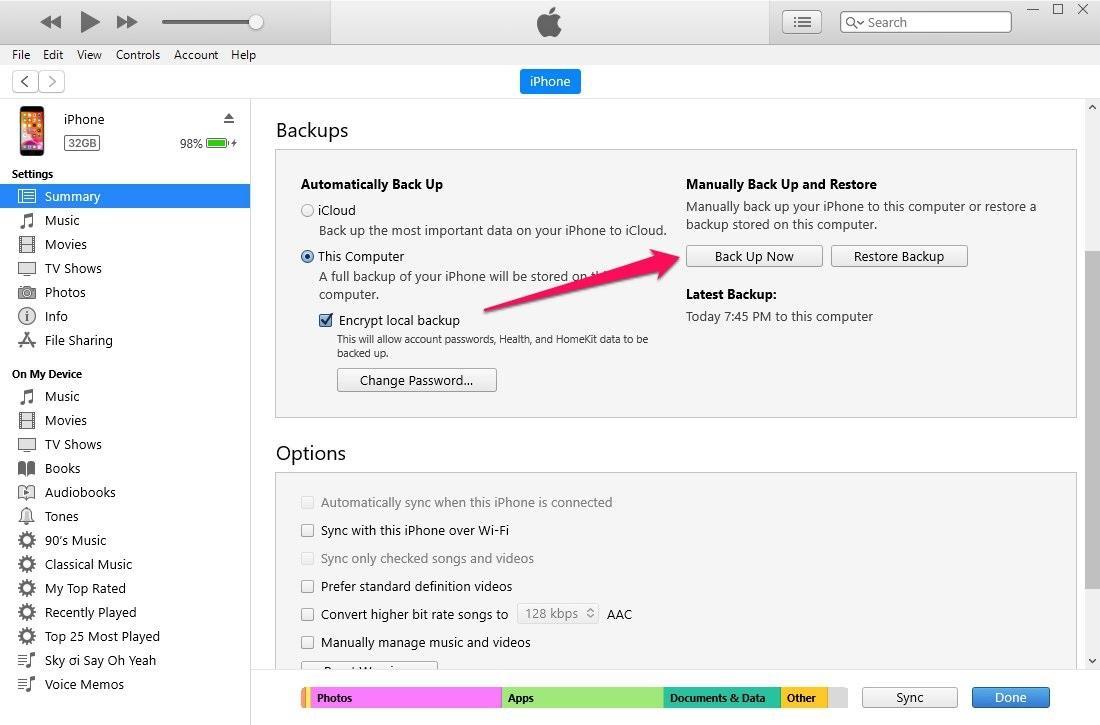 Hướng dẫn backup dữ liệu iPhone bằng iTunes