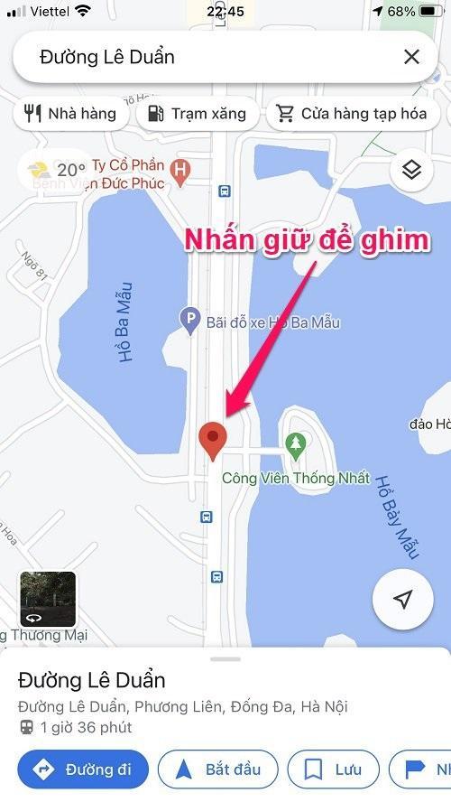 Hướng dẫn cách ghim vị trí trên Google Maps bằng điện thoại iPhone và Android