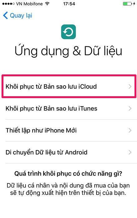 Hướng dẫn khôi phục dữ liệu iPhone từ bản sao lưu iCloud