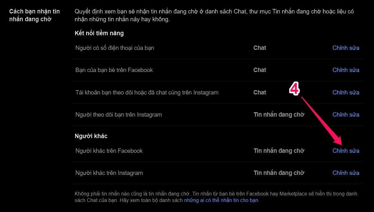 Cách Chặn hoặc Bỏ chặn tin nhắn từ người lạ trên Facebook