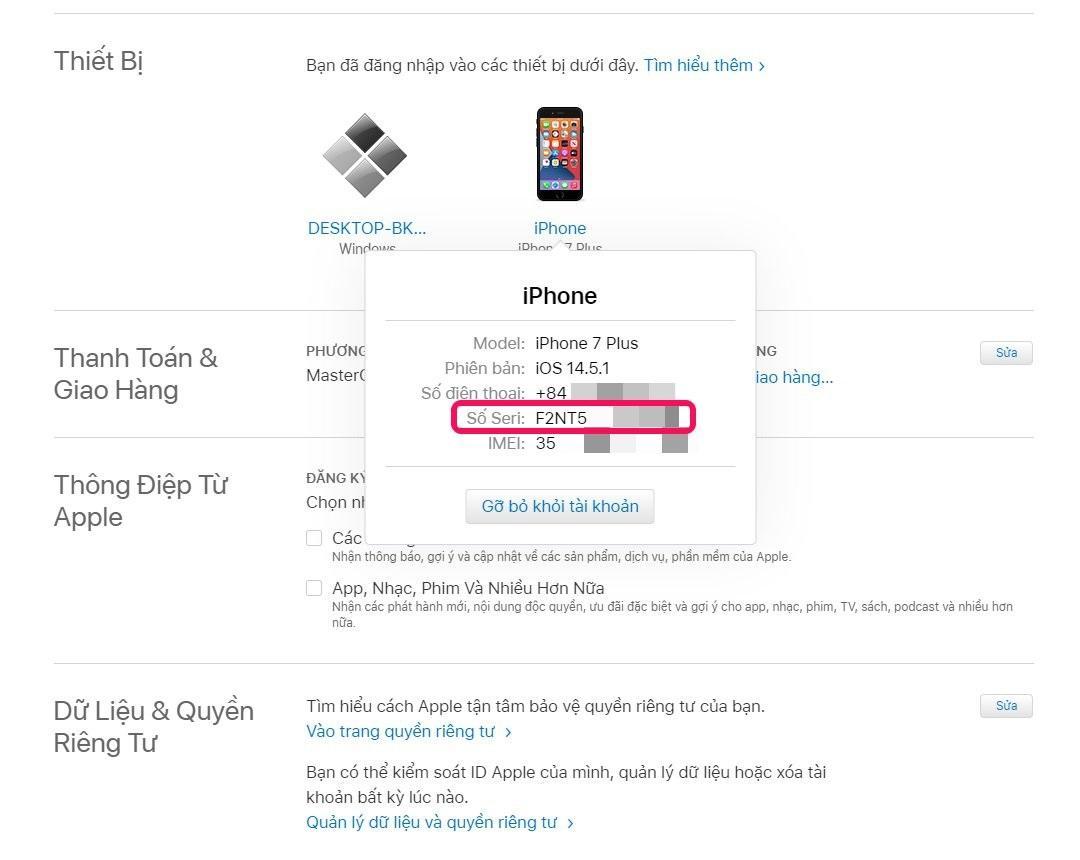 Cách tìm số sê-ri cho tất cả thiết bị bằng Apple ID