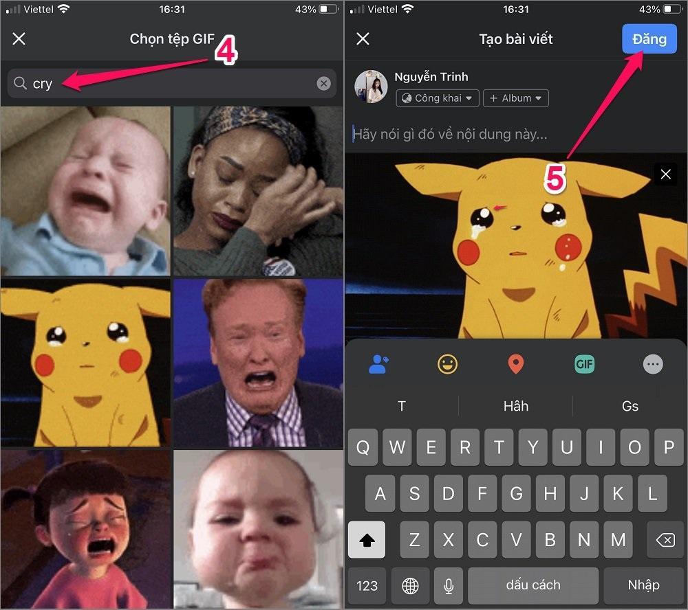 Hướng dẫn cách tải GIF lên Facebook dưới dạng Status
