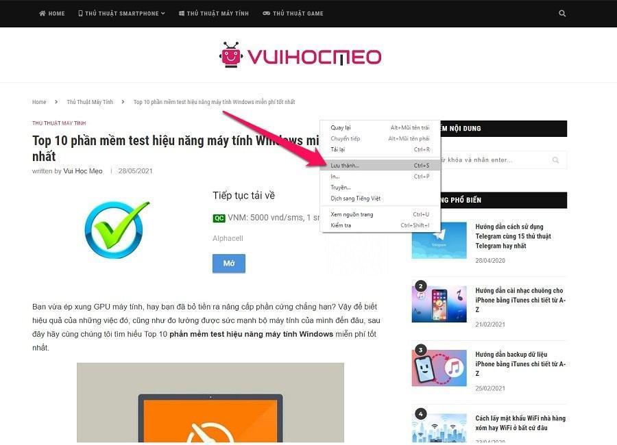 Hướng dẫn cách tải trang web về máy tính để đọc offline