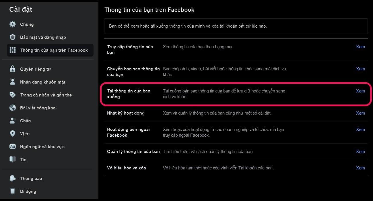 Hướng dẫn tải xuống dữ liệu trước khi xóa Facebook vĩnh viễn