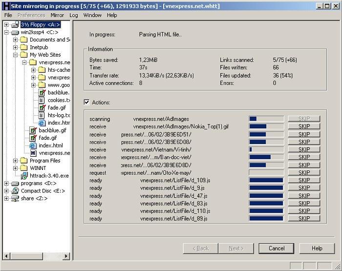 Phần mềm giúp Download toàn bộ trang web - HTTrack