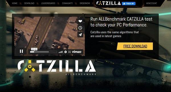 Phần mềm test hiệu năng máy tính Windows - Catzilla