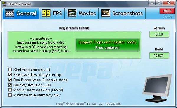 Phần mềm test hiệu năng máy tính Windows - Fraps