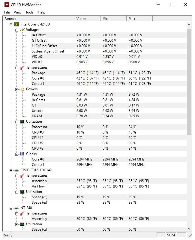 Phần mềm test hiệu năng máy tính Windows - HWMonitor