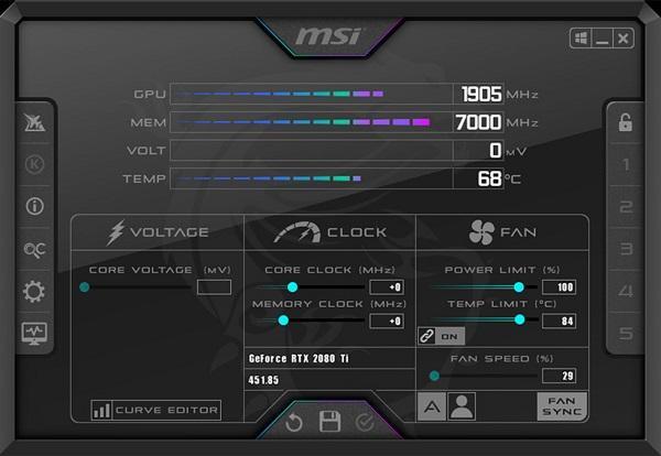 Phần mềm test hiệu năng máy tính Windows - MSI Afterburner