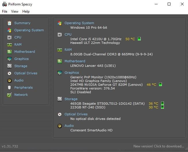 Phần mềm test hiệu năng máy tính Windows - Speccy