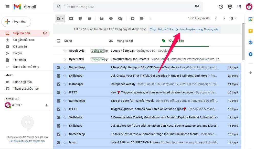 Cách xóa hết thư trong Gmail