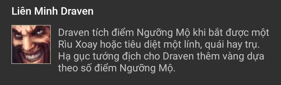 Kỹ năng Draven Liên Minh Draven (P)