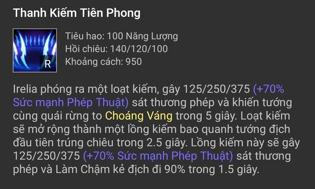 Kỹ năng Irelia - Thanh Kiếm Tiên Phong (R)