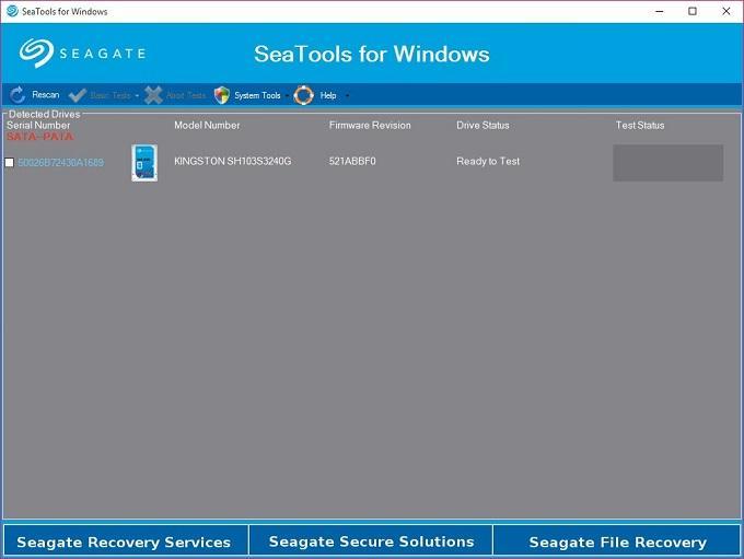 Phần mềm kiểm tra sức khỏe ổ cứng cho máy tính Windows - SeaTools