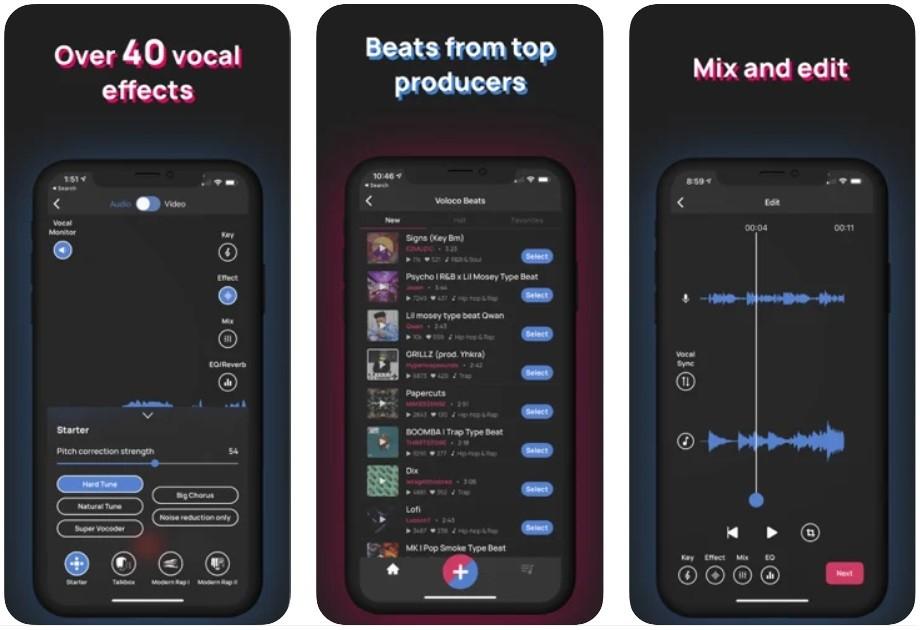 App chỉnh giọng hát hay - Voloco
